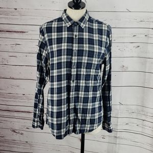 21 Men Classic Blue Plaid Button Down